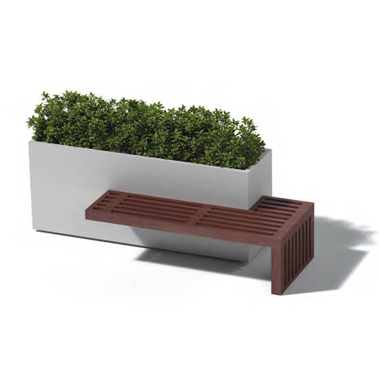 Grey Planter with attached Bench