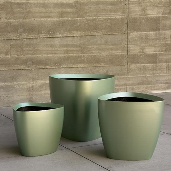 Tria Metallic Green Planters