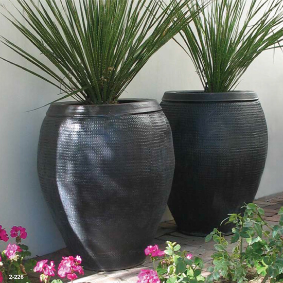 Large Black textured Planters