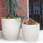 two white round tall planters
