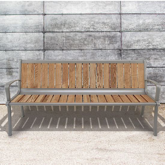 Synthetic Wood Hotel Benches Teak Wood Outdoor Benches