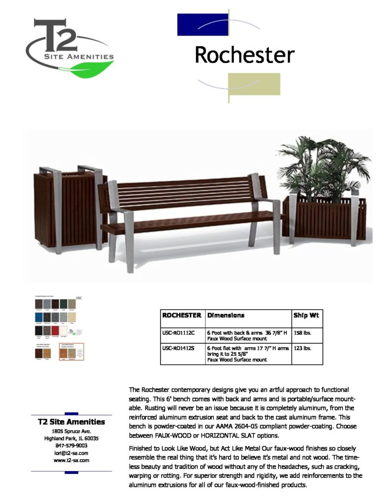 Usc Rochester Bench W No 2017 Pricing Lt1 T2 Site Amenities