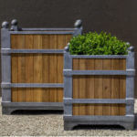 Oak/Zinc Square Planter