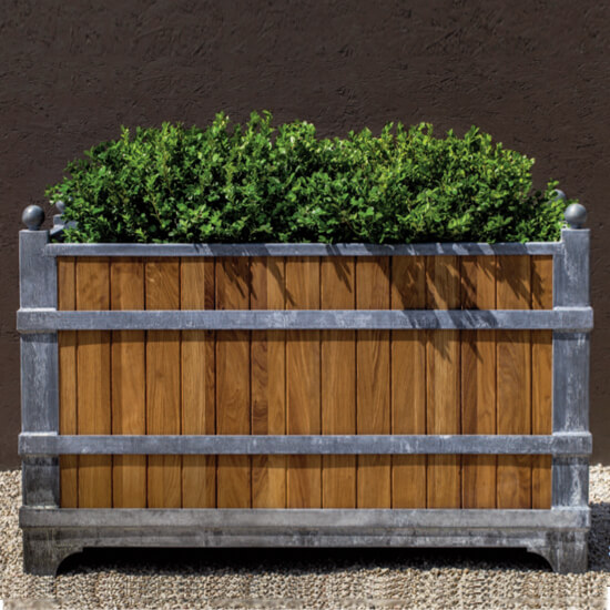 Oak and Zinc Rectangular planter